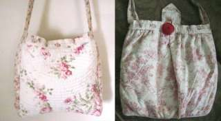 Quilted PINK ROSES & Victorian TOILE FABRIC Poufy Shoulder Bag/PURSE