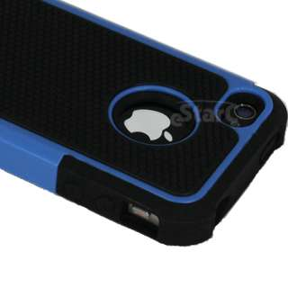 BLUE & BLACK COMBO HARD CASE COVER SOFT GEL SKIN FOR IPHONE 4 4S 4TH