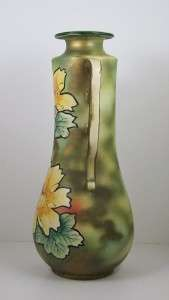 Vintage Art Pottery Vase Hand Painted Bold Flowers 14 3/4 Double