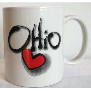 Coffee Cup with Ohio Heart Love Design By Mary Ellis