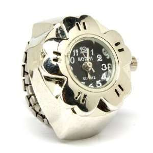 Nine Black Face Flower Ring Watch on Adjustable Stretch Band Silver
