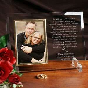 Love Is Magic Anniversary Personalized Beveled Glass