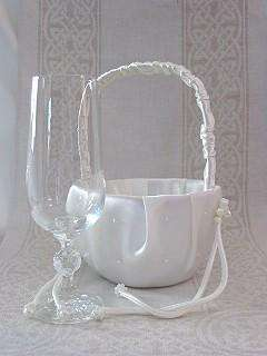 Light Ivory Satin Flower Girl Basket   Style #B