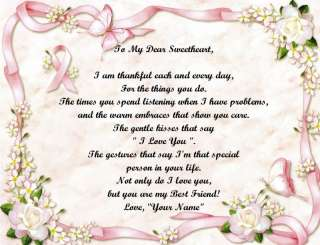 Personalized Poem Breast Cancer Pink Ribbon *30 Styles*