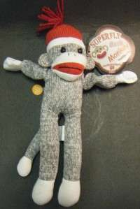 SUPERFLY FLYING SOCK MONKEY SCREAMING SOUNDS PLUSH DOLL 12 HIGH NWT