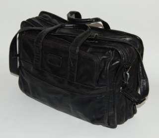 TUMI ALPHA BLACK LEATHER EXPANDABLE LAPTOP BRIEFCASE BAG