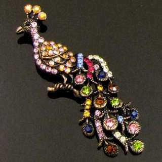 Item  1pc Austrian rhinestone crystal peacock brooch pin