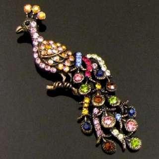 Item  1pc Austrian rhinestone crystal peacock brooch pin