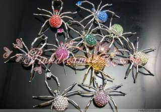 Wholesale12 PcsMIXED Spider Crystal Rhinestone Brooches