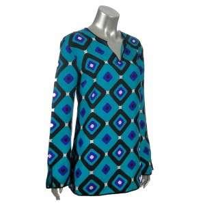 Sutton Studio Womens Silk Teal GeometricPrint Tunic Top