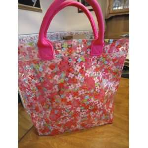Bath & Body Works Pink Spring Floral Vinyl Tote Bag with see through