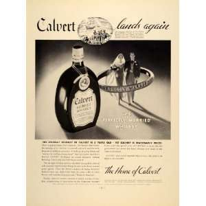1934 Ad Calvert Blended Whiskey Alcoholic Married   Original Print Ad