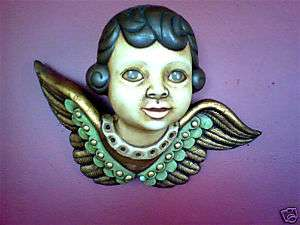 Angel Wing Bust Ceramic Clay Wall Sculpture