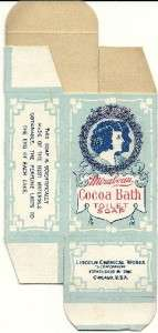 1920s Unused Mirabeau Cocoa Bath Soap Box Chicago,Il.