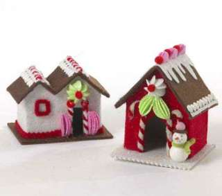 Set of 2 Felt Gingerbread Cake Candy House Ornaments: Home & Kitchen