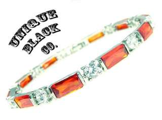 Ruby Red Princess Cut Lady White Gold Women Bracelet