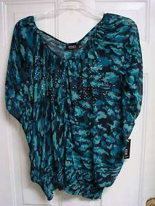 NEW LADIES WOMENS BEADED SHIRT TOP 3X XXXL DRESSY SHEER
