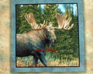 Caldwell Creek Moose Cotton Fabric Pillow Panel, set of 4