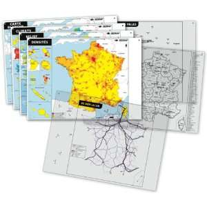 lot de 2 cartes france + 3 cartes sur transparents