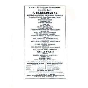 Bronzes DArt F. Barbedienne: Recompenses Obtenues Dans