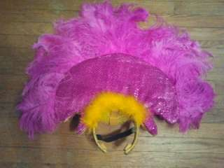 GUC Fuschia and Gold Headdress Samba, Passista, Carnival, Rio