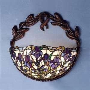 Meyda Tiffany 65956 2 Light Iris Wall Sconce, Mahogany