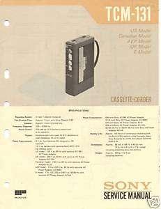 Original Sony Service Manual TCM 131 Cassette Corder
