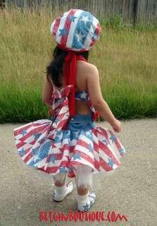 Pageant RWB patriotic Chic Casual wear Glitz 4 july custom 12m 3 4 5 6