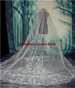Wedding Veil Cathedral Ivory/Ivory Glass Beads In Stock