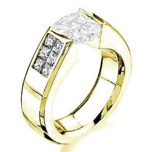 25 Total Carat Emerald Cut Diamond Engagement Ring in 18k Gold 1.00