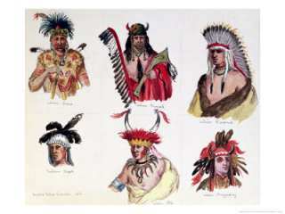 Portraits of Six American Indians from the Sioux, Renard, Pawnee