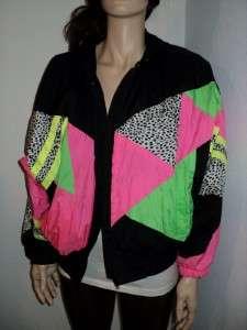 NEON Animal Print Nylon Windbreaker Jacket Snuggler Ski Wear Coat S/M