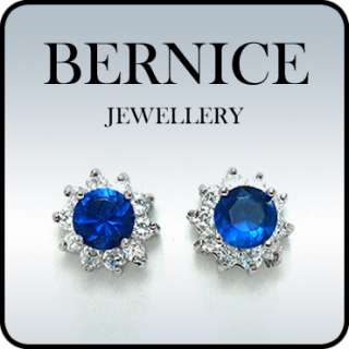 FASHION LADY JEWELRY ROUND CUT BLUE SAPPHIRE WHITE GOLD GP STUD