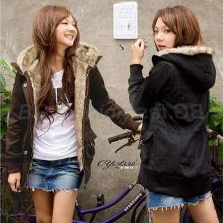 Womens Warm Hoodie Faux Fur Sweatshirt Zip Jacket Coat Outwear 2