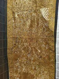 Large Chinese Antique Embroidered Couched Gold Thread Qing panel Silk