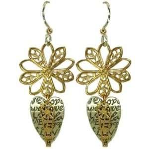 Jody Coyote Gold Silver Love Filigree Earrings QE782