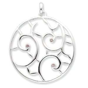 Sterling Silver Pink Quartz Fancy Round Pendant Jewelry