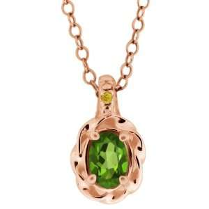 0.51 Ct Green Oval Tourmaline and Canary Diamond 18k Rose