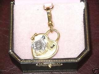 JUICY COUTURE GOLD HEART PADLOCK LOCKET BRACELET CHARM