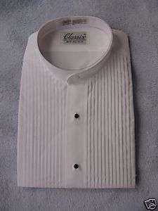 CLASSIX MENS MANDARIN TUXEDO SHIRT WHITE PLEAT XS 30 31