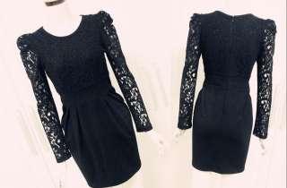Elegant Black Lace Shrug Shoulder Cocktail Party Dress