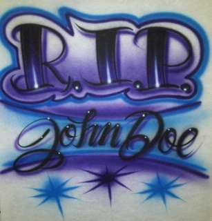Airbrush RIP Rest In Peace Personalized T shirt