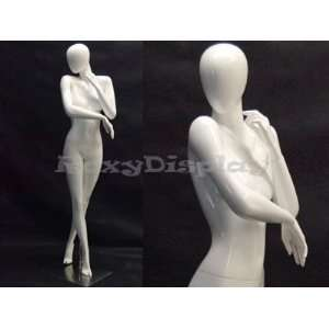 (MD C5) Abstract Female Egg Head Mannequin Glossy White