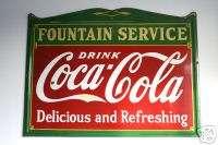1934 Coca Cola Coke Porcelain Fountain Service Sign EXC