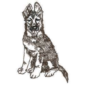 Fuzzy German Shepherd Puppy Dog Outline Iron on Patch