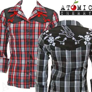 Collectif Rock Shirt Checkered Rockabilly Western Plaid Swallow Tattoo
