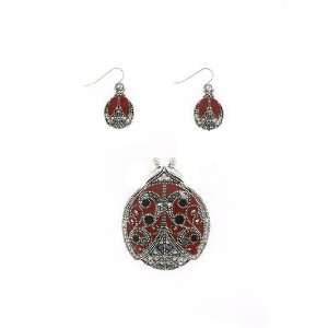 Fashion Jewelry ~ Lady Bug Pin Pendant and Earrings Set