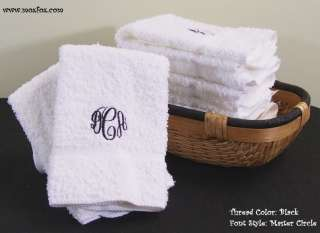 Personalized Monogrammed WHITE Wash Cloths 100% Combed Cotton