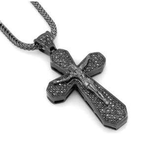 Hip Hop Bling Hematite Black Jesus Crucifix Cross Pendant