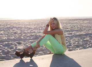 Bright Highlighter NEON GREEN STRETCH Skinny Pencil Jeans Denim Pants